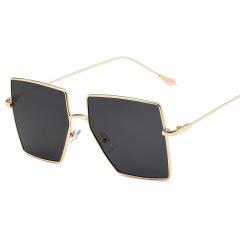 大框时尚方形金框灰片墨镜 复古显瘦太阳镜 团建实用奖品