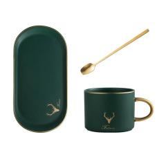 北欧ins风 陶瓷椭圆咖啡杯碟套装 金勺子+杯子+碟子 公司员工生日礼物