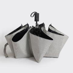 时尚细条纹黑胶折叠伞 创意三折晴雨伞 广告礼品伞