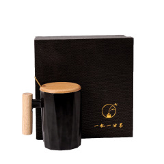 简约文艺木手柄马克杯 创意ins陶瓷杯礼盒套装 活动奖品