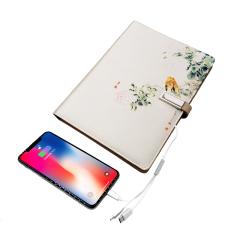 丝绸花鸟充电活页笔记本 8000毫安充电宝+16GU盘+一拖三充电线 商务礼品有哪些