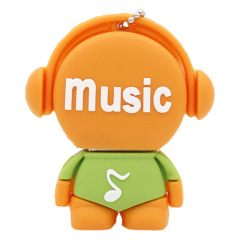 U盘定制 迷你PVC软胶U盘 戴耳机的音乐人优盘 卡通小礼品