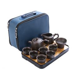 紫砂双侧把壶整套旅行茶具套装 便携家用户外办公商务茶具礼盒 商务礼品