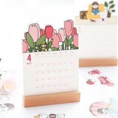2021年彩虹生活木质桌面台历 创意手绘插画日历摆件 月历定制