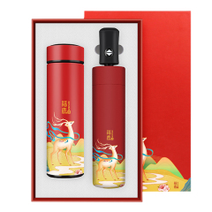 【福鹿相伴】国潮风创意商务伴手礼 保温杯+雨伞礼盒套装 公司周年庆礼品