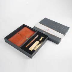 【秋韵】复古风红木文创笔记本礼盒 四件套 公司纪念品什么比较好