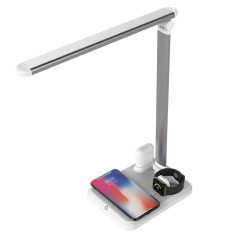 QI协议 10W无线快充LED台灯 四合一多功能苹果伴侣 创意台灯 实用广告小礼品