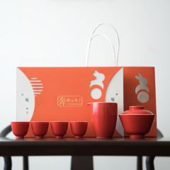 【一杯敬】珊瑚红盖碗功夫茶具六件套 商务礼物 200到300价位的商务礼物