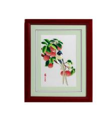 【广绣荔枝绶带鸟】手工刺绣 精美礼盒 中国风礼品