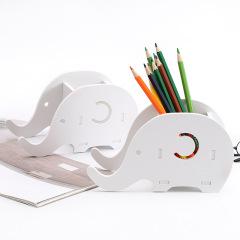 大象手机支架收纳盒 简约木质笔筒 创意广告礼品