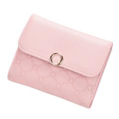短款日韩百搭扣软皮夹时尚迷你三折叠卡包   创意活动礼品