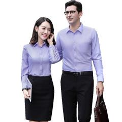 男女同款莫代尔抗皱免烫工作服衬衫 纯色商务正装