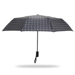 自动款简约格纹三折伞 折叠防晒黑胶伞 晴雨伞定制