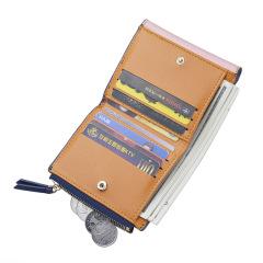 钱包短款钱夹拼接撞色拉链小零钱包卡包   办活动送的礼品