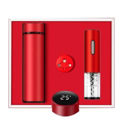 经典好礼商务礼盒套装 电动红酒开瓶器+温显保温杯+一拖三数据线 企业商务礼盒