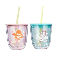 ice cream 双层泡泡波波杯 可爱吸管杯 塑料水杯 活动奖品