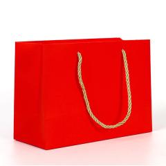 现货纸袋 礼品手提袋 红色覆膜横版白卡纸袋定制 通用礼品袋