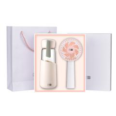 【勿一】高端夏日小风扇+玻璃杯礼盒 夏天送什么礼品