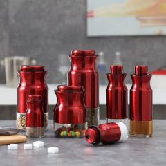 PHMI 御客厨房七件套 优质不锈钢&玻璃密封调料罐 展会定制礼品