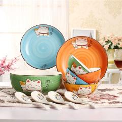 【招财猫】创意碗筷勺子礼盒套装 4碗4勺2盘礼盒 商务礼品送什么好