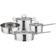 不锈钢厨具套装奶锅汤锅煎锅蒸格四件套 企业奖励员工奖品