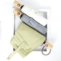 简约纯色文艺木柄伞 全自动伞三折叠晴雨伞 创意礼品伞定制