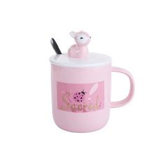 陶瓷杯卡通手绘水杯 情侣办公室马克杯     商务礼品定制LOGO