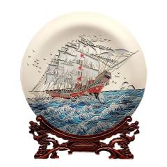 【一帆风顺】玻璃工艺品双面雕刻 手工彩绘桌面摆件400mm 高档创意礼品