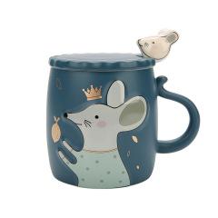 2020鼠年创意浮雕萌鼠生肖杯陶瓷马克杯带盖勺    活动小礼品