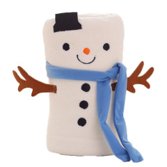 【小雪人】圣诞保暖小毛毯 法兰绒创意圣诞节造型 公司圣诞节小奖品