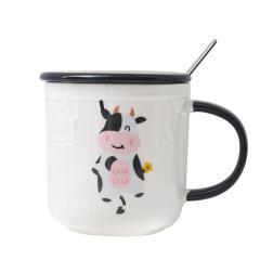 浮雕动物陶瓷杯 带盖勺小清新办公马克杯 咖啡杯水杯 潮流礼品