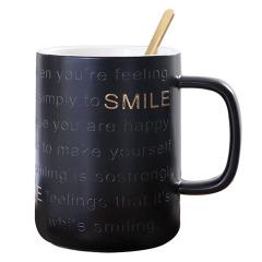SMILE INS风网红描金字母陶瓷杯 办公马克杯 50元以内的培训奖品