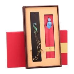 中國風彩繪黑檀木書簽 復古流蘇書簽禮盒 創意年會禮品