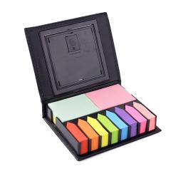 太阳能计算器荧光色便签纸便利贴 高档PU便签盒 读书活动赠品