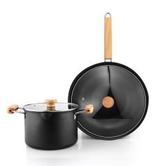 德国NOLTE 烹饪锅具两件套汤锅炒锅不粘锅 公寓礼品