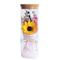 皂花向日葵康乃馨玻璃罩花筒 送长辈生日礼物 教师节礼物