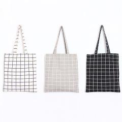 黑白灰 格子純棉帆布袋 拉鏈包 雜物袋 最實用的廣告小禮品