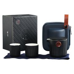 旅行日式泡茶杯 一壶二杯便捷式车载陶瓷茶具套装 送商务礼品