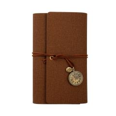 复古纯色活页笔记本 仿皮PU布纹面料手账本 定制办公用品