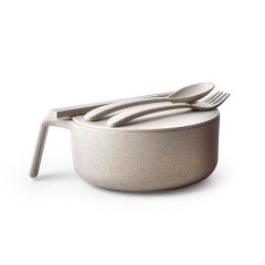 小麥秸稈健康環保可降解手柄碗套裝禮盒 帶蓋帶叉勺四件套 尾牙抽獎獎品什么好