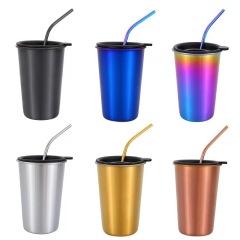 工业风金属咖啡杯 创意不锈钢啤酒杯 饮料杯奶茶杯500ML 带盖吸管杯(可选)现场活动奖品
