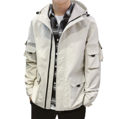 春秋季男式夹克 宽松抽绳连帽工装外套