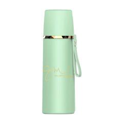 华丽保温杯个性时尚签名350ML皮纹提手保温杯 在线礼品定制