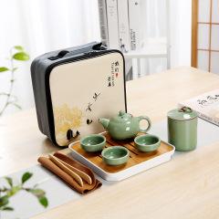 【旅行】旅行功夫茶具套裝 哥窯式旅行便捷套裝 保險公司送的禮物