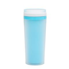 创意磨砂双层隔热杯 带提手塑料广告杯 防漏水杯