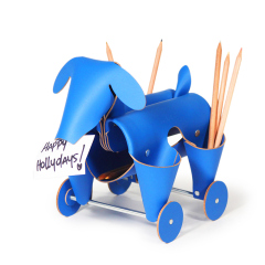 阿根廷進口 Vacavaliente創意狗狗多功能皮革收納擺件-藍色