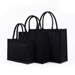 黑色时尚手提麻布袋 简约便携 促销小礼品
