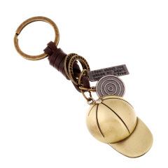 合金帽子 纯手工牛皮编织复古金属钥匙扣 微信活动 热门礼品