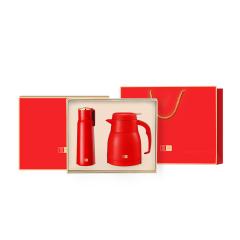 马卡龙轻奢暖心两件套礼盒 保温杯+保温壶装 房地产送给客户礼品