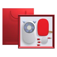 创意鹅卵石充电宝礼盒套装 小风扇+移动电源+一拖三数据线 企业礼品定制